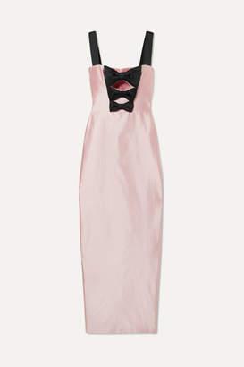 Rasario Bow-embellished Silk-shantung Gown - Pastel pink
