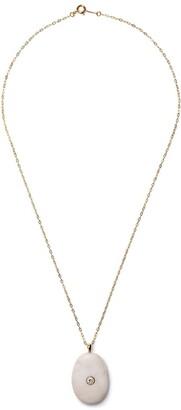 Cvc Stones EID white pebble stone and diamond pendant necklace