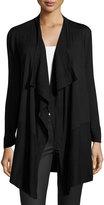 Neiman Marcus Long-Sleeve Draped Cardigan, Black