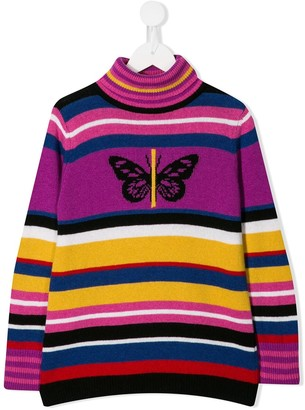 Pinko Kids Striped Knitted Jumper