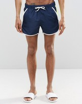 Asos Runner Swim Shorts With Contrast Mesh In Navy