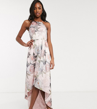 Chi Chi London Tall hi low dress in soft floral