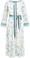 Roland Mouret Fernandina Floral-print Seersucker-crepe Dress - Womens - Blue Print