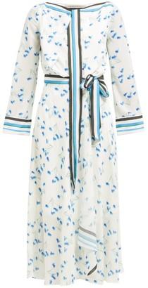 Roland Mouret Fernandina Floral-print Seersucker-crepe Dress - Blue Print