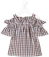 Il Gufo gingham cold shoulder top