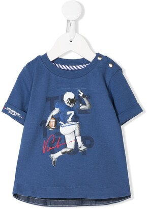 Lapin House football player print curved hem T-shirt