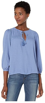 Lucky Brand Laura Lace Peasant Top (Colony Blue) Women's Clothing