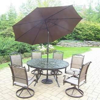 Basile August Grove 7 Piece Dining Set August Grove Color: Coffee, Umbrella Color: Brown