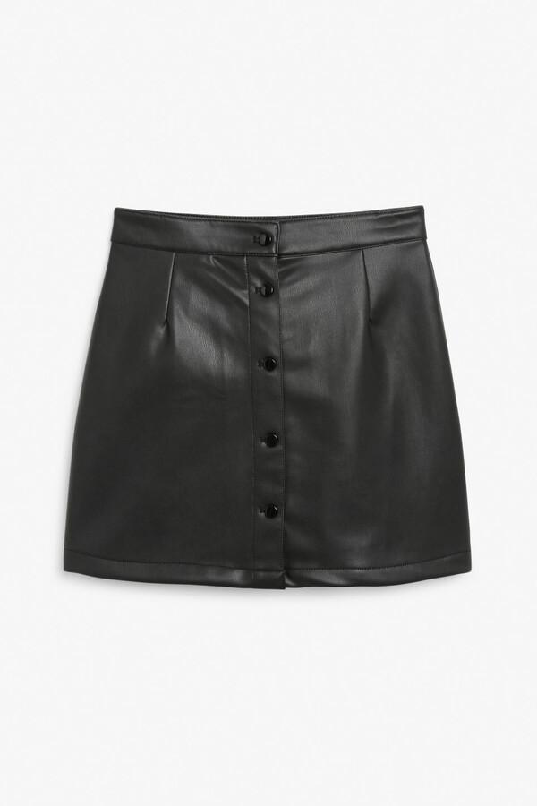 Monki Faux leather mini skirt