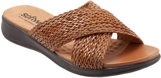 SoftWalk 'Tillman' Leather Cross Strap Slide Sandal