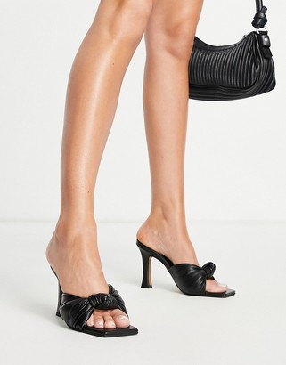 ASOS DESIGN Neville premium leather knotted heeled mules in black
