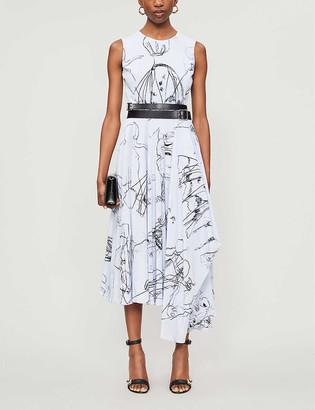 Alexander McQueen Abstract-print sleeveless silk midi dress