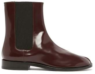 Maison Margiela Tabi Split Toe Leather Chelsea Boots - Womens - Burgundy