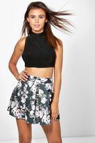 Boohoo Petite Carly Floral Box Pleat Skater Skirt