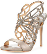 Badgley Mischka Newlyn II Crystal Laser-Cut Sandal, Pewter