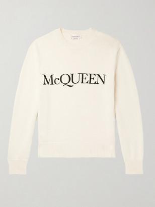 Alexander McQueen Logo-Embroidered Cotton Sweater