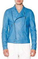 Tomas Maier Asymmetric Leather Moto Jacket, Blue
