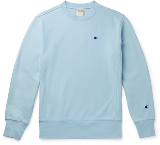 Champion Logo-Embroidered Melange Fleece-Back Cotton-Blend Jersey Sweatshirt