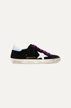 Golden Goose Superstar Distressed Glittered Suede Sneakers - Black