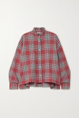Etoile Isabel Marant Ilaria Oversized Ruffled Checked Cotton-flannel Shirt - Red