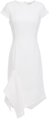 Halston Draped Stretch-cady Midi Dress