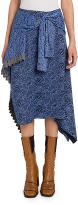 Chloé Bi-Color Floral Faux-Wrap Skirt