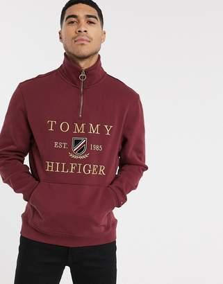 Tommy Hilfiger icon half zip jumper in burgundy-Red