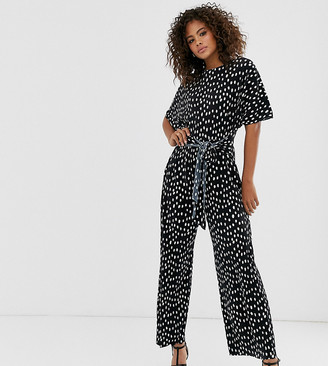 ASOS DESIGN Tall plisse tie front jumpsuit in spot print