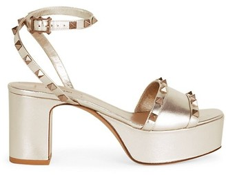 Valentino Rockstud Metallic Leather Platform Sandals