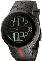 Gucci Unisex I Collection Black Rubber Strap Watch 44mm YA114207