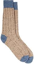 Barneys New York Men's Rib-Knit Cashmere-Blend Socks-BEIGE, LIGHT BLUE, TAN