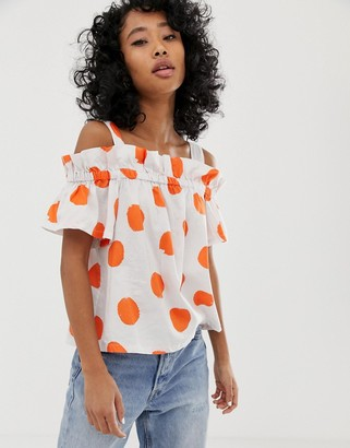Pepe Jeans Jourdan polka dot cold shoulder blouse-White