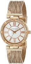 Anne Klein Women's AK/2144MPRG Swarovski Crystal Accented Rose Gold-Tone Chain Bracelet Watch