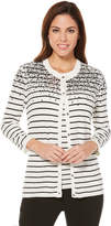 Rafaella 3/4 Sleeve Crew Neck Button Cardigan