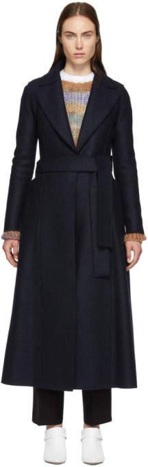 Harris Wharf London Navy Pressed Wool Long Duster Coat