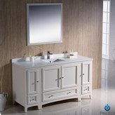 "Fresca Oxford 60"" Single Traditional Bathroom Vanity Set with Mirror Base"