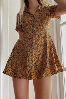 Urban Renewal Vintage Urban Outfitters Archive Black and Orange Floral Tea Dress - Black XS at Urban Outfitters