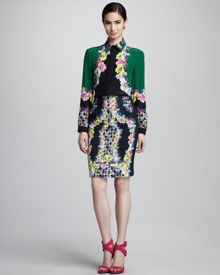 Erdem Fitted Printed Skirt