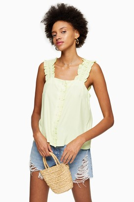 Topshop Womens Lime Green Button Frill Cami - Lime