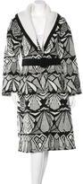 Oscar de la Renta Patterned Knit Coat