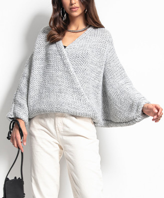 Fobya Women's Pullover Sweaters Grey - Gray Surplice Sweater - Women