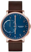 Skagen Hagen Connected Rose Goldtone Stainless Steel Leather Strap Hybrid Smartwatch
