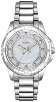 Bulova Womens Silver-Tone Mother-of-Pearl Diamond-Accent Watch 96P144