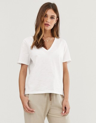 Asos DESIGN t-shirt in slubby jersey with v-neck in white