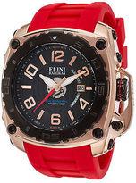 Elini Barokas 20009-RG-01-BB-RDS Men's The General Red Silicone Black Dial &