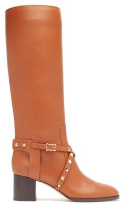 Valentino Rockstud Knee-high Leather Boots - Womens - Tan