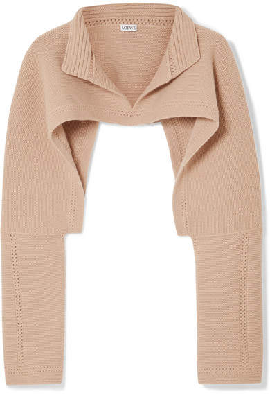 Loewe Cropped Wool And Cashmere-blend Sweater - Beige