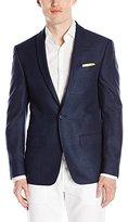 Andrew Fezza Men's Fane One-Button Shawl Collar Navy Nail Head Jacket
