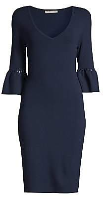 Trina Turk Women's Blues Bell-Sleeve Sweater Dress