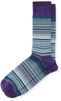 Neiman Marcus Striped Mercerized Crew Socks